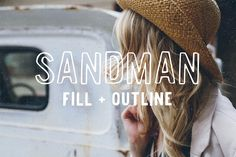 Sandman - Fill and Outline Fonts A handmade sans serif font. Two versions - Fill and Outline. Perfect for overlaying on photos.or r by Jackrabbit Creative Creative Fonts, Creative Sketches, Cool Fonts, New Fonts, Slab Serif Fonts, Web Design, Design Ideas, Design Styles, Font Packs