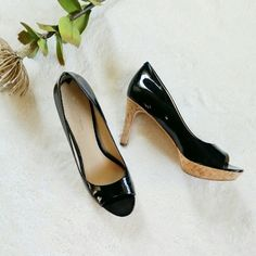 Via Spiga Black Patent Leather Peep Toe Heels 8.5 Gently worn twice. In great condition. No scratches or marks on the shoes. Size 8.5. 3 inch heels. Via Spiga Shoes Heels