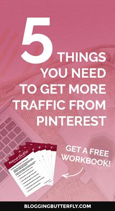 Pinterest for Bloggers: How to use Pinterest to grow your blog or blog-based business. Get a free workbook with the 5 things you need to get more traffic to your blog with Pinterest.