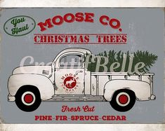 Gray Vintage Background Plus Transparent Background Christmas Truck with Tree Instant Digital Downlo Vintage Flowers, Vintage Pink, Etsy Vintage, Pink Flowers, Christmas Truck With Tree, Tractor Crafts, Vintage Christmas, Christmas Clay, Christmas Items