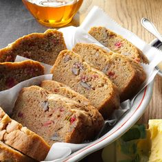 Doug liked! Rhubread Recipe -We moved into a house with a yard of fresh rhubarb. To use some of those ruby stalks, we made rhubarb bread with cinnamon and pecans. Best Rhubarb Recipes, Rhubarb Desserts, Rhubarb Dishes, Rhubarb Cookies, Rhubarb Bread, Fruit Bread, Cooking Rhubarb, Rhubarb Custard Bars, Rhubarb Cake