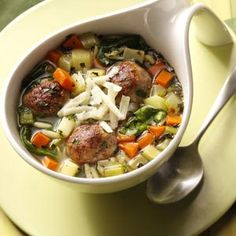 Italian Wedding Soup with Meatballs - Make Low-Carb Meatballs, leave out parnips, carrots, and pasta