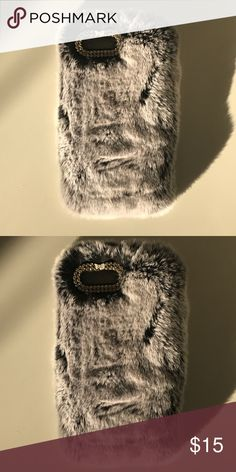 iPhone 7 Plus Gray Fur Case Sexy furry gray phone case & cover. Feels silky. Little bow detail near the flash. So cute!!! Brand new. Accessories Phone Cases