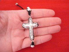 Fresh water cross bracelet Pearl jewelry First communion by Poppyg