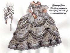 Gambling gown, Norma Shearer as Marie Antoinette  Paper doll, colours taken from original garment