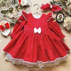 Beautiful Smart Retro And Vintage Fluffy Red Baby Girl Dress And Long Sleeve Perfect Gift Baby / Toddler Festive / Polka-Dot Dress - Baby Girl Dress - Ideas of Baby Girl Dress Vintage Baby Mädchen, Retro Baby, Toddler Dress, Toddler Outfits, Kids Outfits, Toddler Girls, Baby Girls, Toddler Fashion, Kids Fashion