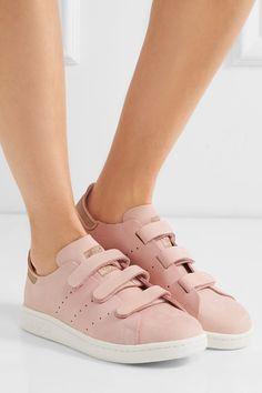 Rubber sole measures approximately 25mm/ 1 inch Blush nubuck Velcro®-fastening straps Designer color: Vapour Pink