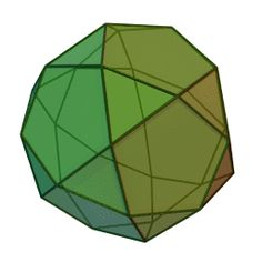 Icosidodecahedron - Cyp  The icosidodecahedron can be built by truncating either a regular icosahedron or a regular dodecahedron. It has 30 vertices, one at the center of each edge of the icosahedron—or equivalently, one at the center of each edge of the dodecahedron. It is a beautiful, highly symmetrical shape: