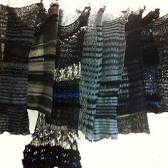 Industrial machine knits. Black blue and sparkle.
