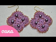 crochet lace & beads earrings - YouTube