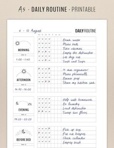 Daily Routine Planner Printable, Flylady Morning Routine Checklist, Before Bed Routine, Home Management Planner Insert, Household printables Tagesroutinenplaner Druckbare Flylady Morgenroutine Morning Routine Checklist, Beauty Routine Schedule, Daily Checklist, Daily Routine Chart, Daily Routines, Morning Routine For School, Morning Routine Chart, Healthy Morning Routine, Bed Time Routine