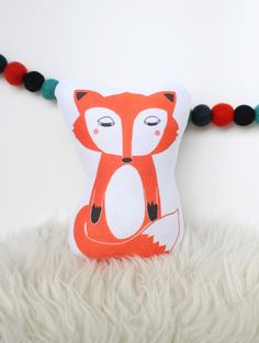 Red Fox Plush Pillow 8 Toy by featherandfin on Etsy
