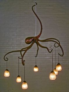 Octopus Chandelier, Creative Nautical Home Decorating Ideas, Nautical Home Decorating, Diy Home Decor, Decorating Ideas, Coastal Decor, Decor Ideas, Nautical Interior, Quirky Home Decor, Coastal Living, Coastal Curtains
