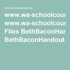 www.wa-schoolcounselor.org Files BethBaconHandout.pdf