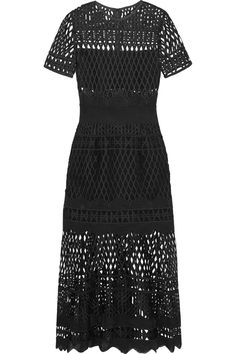Self-Portrait creates elegant eveningwear with modern appeal. Crafted from geometric guipure lace, this black dress is fitted through the bodice and flares out to a tiered, calf-skimming skirt. It has a nipped-in grosgrain waistband and stretch-jersey lining – strategically placed for coverage. Wear it to your next event with gold accessories. Shop the look at NET-A-PORTER