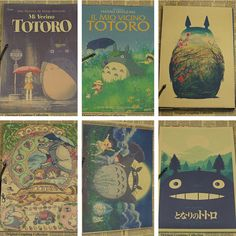 Vintage Cartoon Anime Hayao Miyazaki Totoro Spirited Away Poster Cafe Kid Home Decor Retro Kraft Paper Wall Sticker 21x30cm