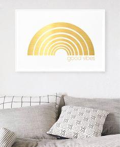 Good Vibes Rainbow - Limited Edition Gold Foil Print    Hunters Hunter Gatherer, Gold Foil Print, Limited Edition Prints, Hunters, Good Vibes, Tapestry, Rainbow, Art Prints, Home Decor