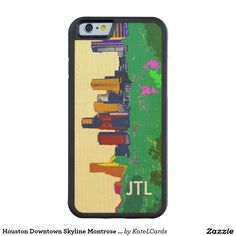 Houston Downtown Skyline Montrose Handmade Custom Carved® Maple iPhone 6 Bumper Case