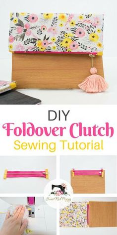 Learn how to sew this super stylish foldover clutch with this sewing tutorial! #zipperpouch #sewing