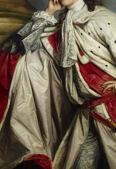 ''James, 7th Earl of Lauderdale, Sir Joshua Reynolds, 1760. Detail.''. Reynolds lavished much care on the rich robes worn by his aristocratic patrons.
