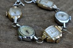 Recycled Vintage Jewelry Ladies Watch Bracelet OOAK Steam Punk Art Deco 5 Faces Cases Gold Silver. $54.99, via Etsy.
