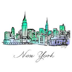 New York City Skyline Watercolor Print Wall Art, Sky Illustration,... ($12) ❤ liked on Polyvore featuring home, home decor, wall art, nyc skyline wall art, cityscape wall art, new york city wall art, skyline wall art and nyc home decor