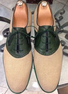 Handmade Special Design Luxury Green Linen Mens Shoes