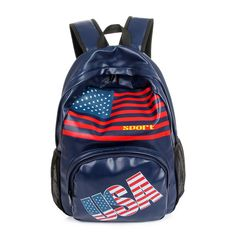 Hot American Flag USA PU Leisure Backpack 6 Colors