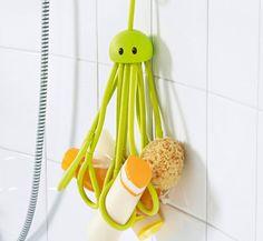 Formverkert Octopus Shower Caddy (in Blue) - Shower Gel Shampoo Conditioner Brush Razors Toys Accessories Holder, 9 Slots, Fits All Sized Bottles, Stylish Fun Bath Shower Organizer, Designed in Sweden Little Octopus, Clever Gadgets, Geek Gadgets, Shampoo Bottles, Yanko Design, Ride On Toys, Hold You, Bathroom Renovations, Bathrooms