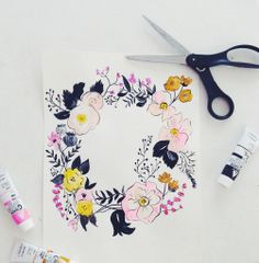 watercolor floral wreath // shannon kirsten