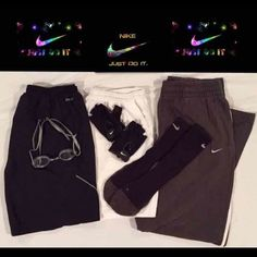 "⚽️Nike 6 Piece Bundle⚽️Sale⚽️ 1 Nike Dri-Fit socks, 1 Nike swim goggles, 1 Nike workout/golf gloves, 2 Nike Dri-Fit shorts 1 White & 1 Gray drawstring both have front and back pockets. Size Large Gray ones have internal pocket. Gray sweats are drawstring with 1 back pocket and 2 front pockets. Length 40"" Width 9"" Signature Nike on all pieces Sorry no PP trades or holds.""all workout items come with free fitness magazines Last sale price was $79 & now… save up to 50% off on bundles In both of…"