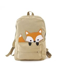 Shop Sleepyville Critters Orange Baby Fox Animal Vegan Canvas School Laptop Backpack - Khaki - CG124DVLGZV at affordable price, buy latest Laptop Backpacks enjoy big discount and free shipping....