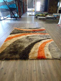 Hand Tufted Orange Bedroom Indoor Area Rug, Plush & Thick