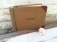 Vintage ledger book industrial canvas by happydayantiques on Etsy, $25.00