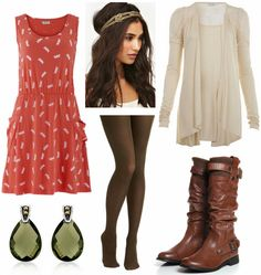 Try pairing a printed coral dress with some olive green tights for a cute and colorful look. Next, add a cozy cream-colored sweater and a pair of knee-high brown boots, which help make this outfit perfect for autumn. Accessorize with a cool gold headband and a pair of olive-colored drop earrings