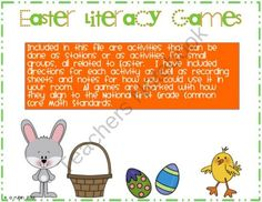 Hippity Hoppity Literacy Centers product from Angela Rubin on TeachersNotebook.com