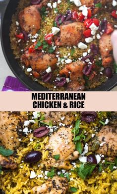 Were loving so many meals with chicken lately especially this easy One Pot Mediterranean Chicken and Rice: its made with Chicken Thigh And Rice Recipe, Chicken Diet Recipe, Easy Chicken And Rice, Easy Chicken Dinner Recipes, Healthy Meals With Chicken, Jerk Chicken And Rice, Chicken And Yellow Rice, Chicken Thigh Recipes, Yellow Rice Recipes