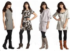 As the weather cools, tights add color to your mix n' match knits/boots combos!