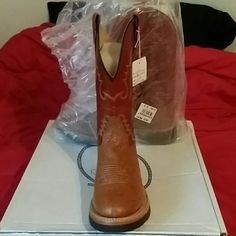 Cowboy boots Brown leather boot with Ostrich print Jama Old West Shoes