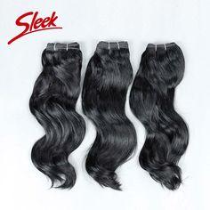 (78.51$)  Know more  - Sleek Indian Virgin Hair, Raw indian hair s-wavy 3pcs/lot,Best Indian hair extension 113g/bundle,Thick human hair Free Shipping