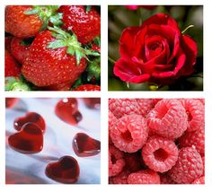 Red Strawberries...Roses...Hearts and Raspberries Collage