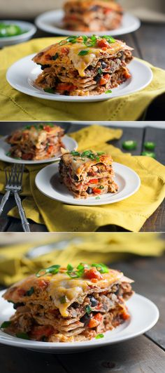 Mexican Lasagna _ This Mexican Lasagna is super easy to make! Top with chopped green onions & your favorite toppings!