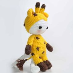Dressed in funny giraffe costume, this amigurumi doll is ready for hours of fantasy playtime. Crochet the toy as a gift and make a child feel the happiest in the world!