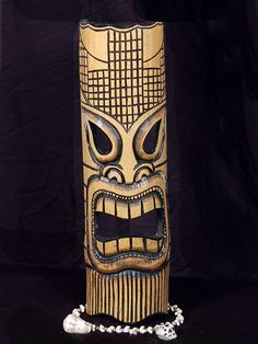 """Hand Carved Bamboo Tiki Mask. This Lono Mask - Tiki of Money & Luck.  Measures 20""""X7""""  Product DPT509650"""