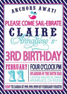 Sailor Girl Nautical Birthday Invitation via Etsy