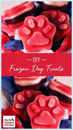 During the sweltering days of summer, give your dog a treat that's totally cool. This easy dog recipe uses pet friendly and healthy ingredients for a frozen treat your dog will love. Dog Treat Recipes, Dog Food Recipes, Hypoallergenic Dog Treats, Frozen Dog Treats, Puppy Treats, Dog Crafts, Homemade Dog Treats, Diy Dog, Dog Care