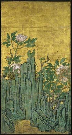 Detail. Peony Room (artist: Kano Sanraku) (Daikaku-ji Temple, Kyoto). Seventeenth century. An important cultural property of Japan.