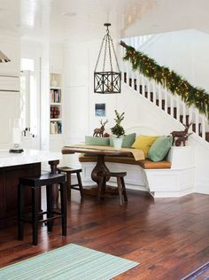 Would love a bench (no table) like this against my stair case  Smart, Beautiful Kitchen Banquettes   Traditional Home