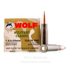 Wolf WPA 7.62x39 Ammo - 1000 Rounds of 124 Grain FMJ Ammunition #762x39 #762x39Ammo #Wolf #WolfAmmo #Wolf762x39 #FMJAmmo #WolfMilitaryClassic