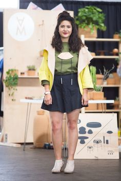 25 Perfect Outfits From The Most Stylish Craft Fair Ever #refinery29  http://www.refinery29.com/2015/06/88847/west-coast-craft-fair-street-style-pictures#slide-8  Designer Melanie Abrantes in a Kate Spade skirt and jacket, Adrian Clutano necklace, and Urban Outfitters boots.